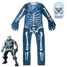4 11y criança crianças assustador halloween fantasma trooper jogo traje esqueleto osso topos calça terno terror para a criança meninas menino