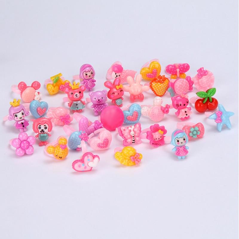 20 pièces/ensemble mélange aléatoire Animal coeur assorti bébé enfants fille enfants dessin animé anneaux pour cadeau de noël