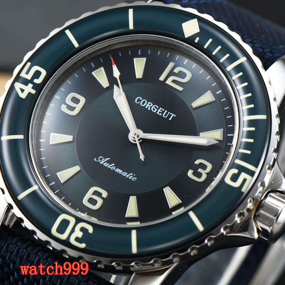 CORGEUT 45mm green dial super bright luminous automatic men's watch stainless steel waterproof mechanical men watch