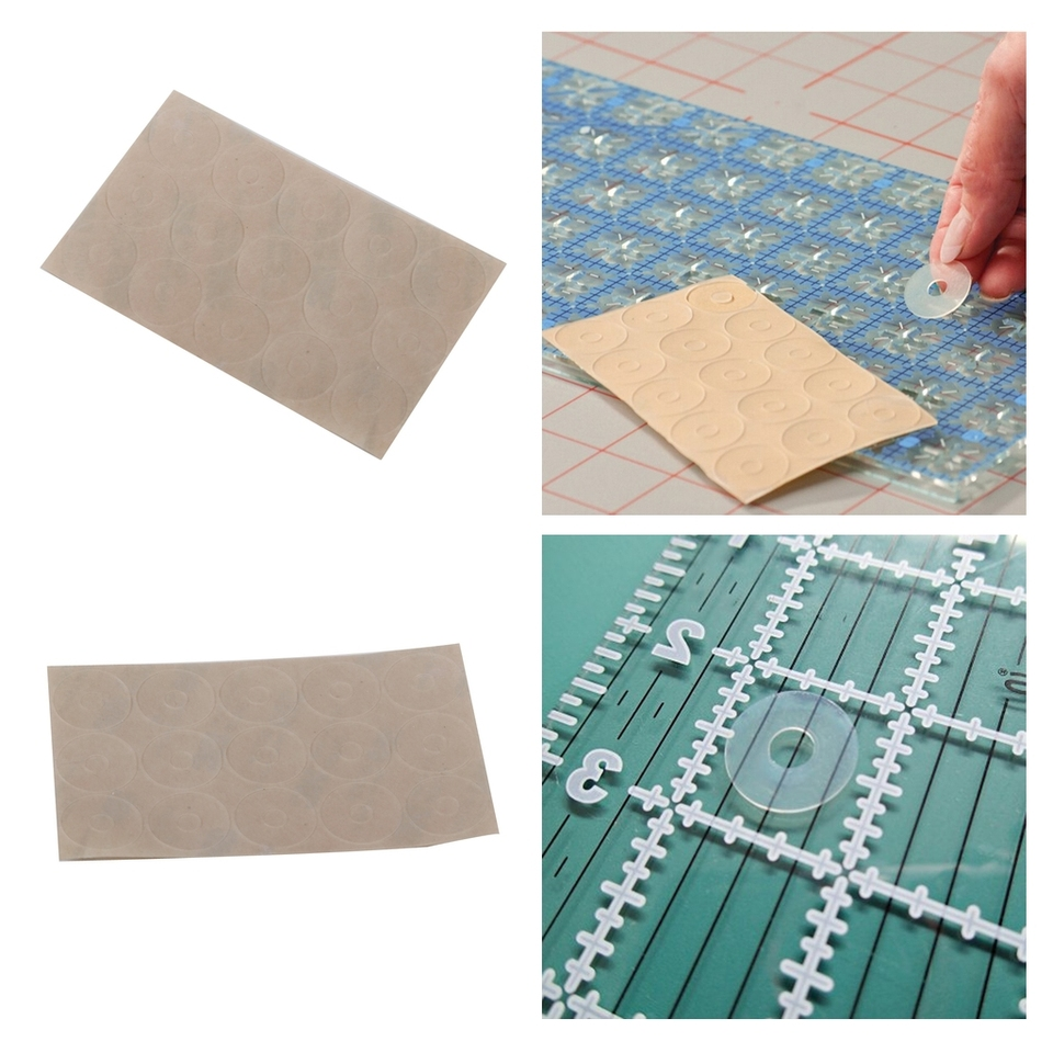 10 SHEETS CLEAR SILICONE NON SLIP ADHESIVE GEL RINGS QUILTING PATCHWORK RULERS