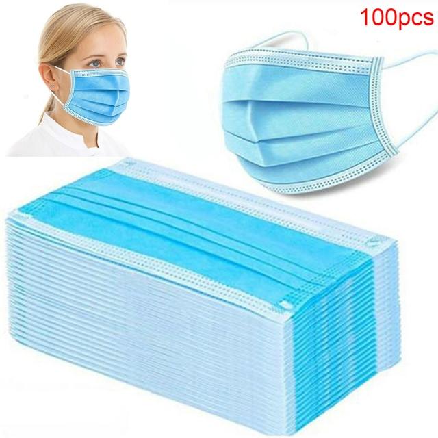 In Stock! 100 Pcs Disposable Mondmasker Earloop Face Mouth Masks Mouth Mask Non-woven Melt Blown 3-layer Mascarilla mascarilas
