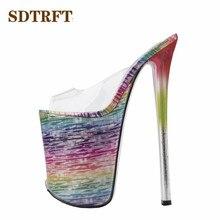 SDTRFT 靴女性浅い口スリッパピープトウ 22 センチメートル薄型ハイヒールの結婚式パンプス sapato feminino 透明ハイヒール US14 15 16