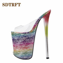 SDTRFT shoes woman Shallow mouth Slipper Peep Toe 22cm Thin Heels Wedding pumps sapato feminino transparent Stilettos US14 15 16