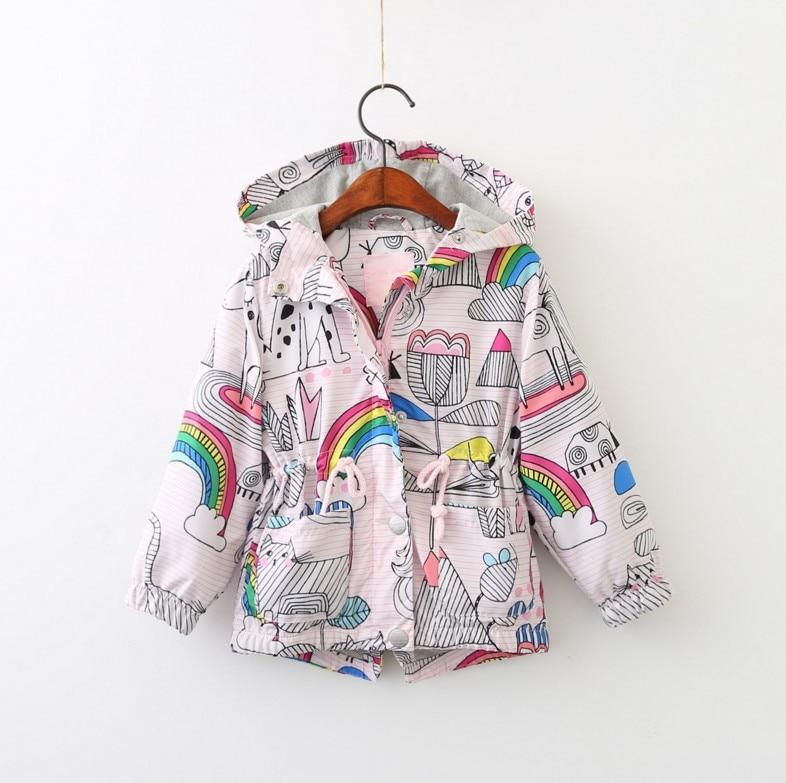 Baby Spring And Autumn Children's Wear European And American Girls Zipper Jacket Rainbow Print Windbreaker Hooded Jacke