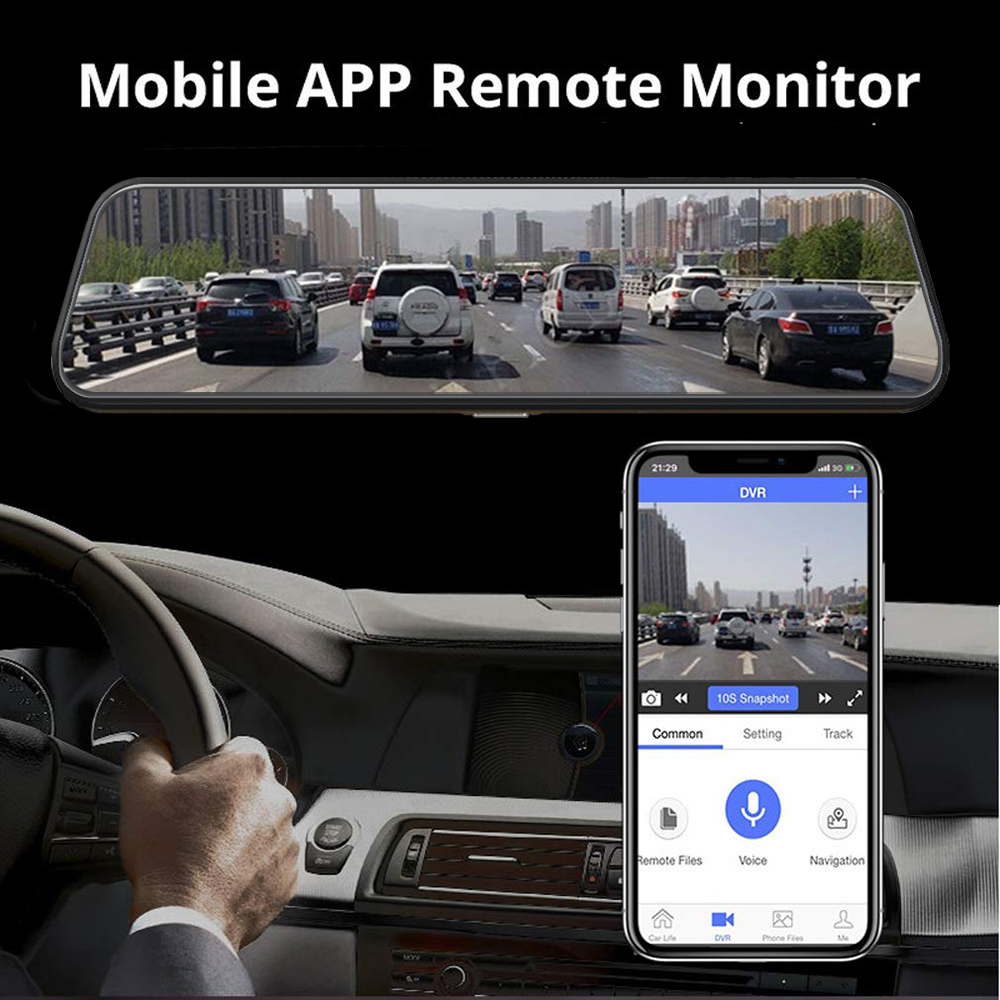 4G 10 Inch Dash Cam Car Android 8.1 Rearview 3