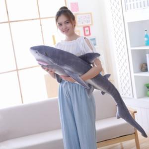 Image 2 - Simulation shark plush toy strip sleeping pillow big white shark children Tricky Creative Toys birthday gift for kids friends