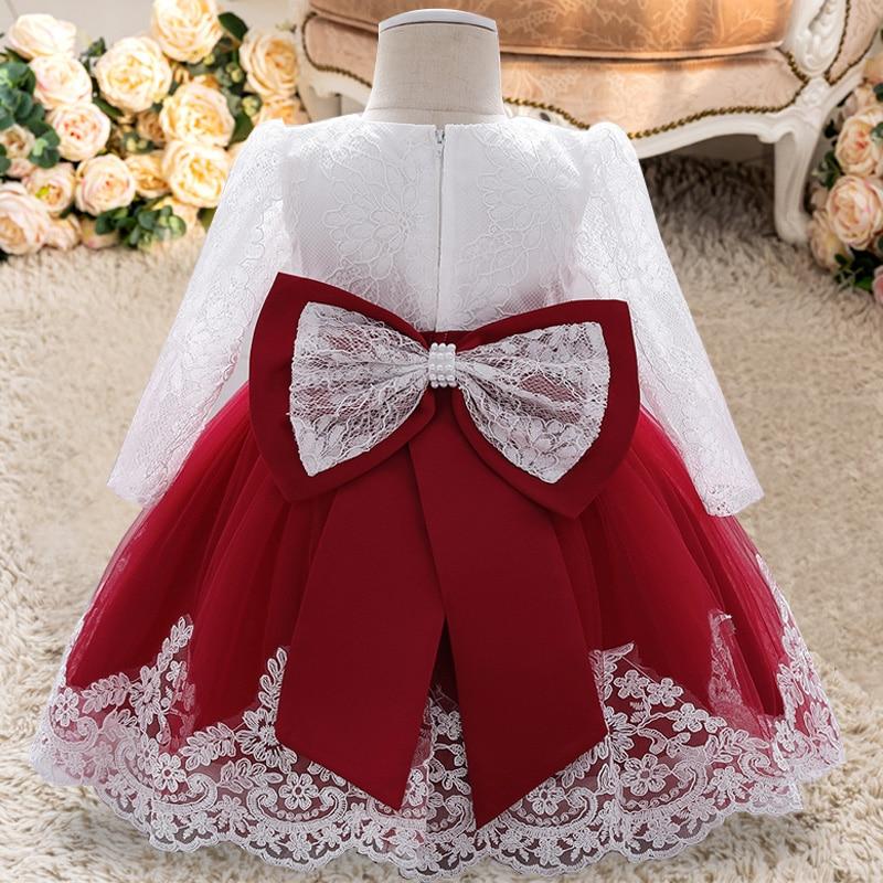 PLBBFZ Summer Long Sleeve 0 2 1 Year Birthday Dress For Baby Girl Clothes Flower Princess Dresses Evening Dress Infant Vestido