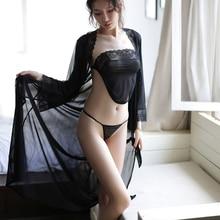 Sexy Black Lingerie Set Erotic Underwear Women Porno Thin Transparent Thong Babydoll Costumes Nightg