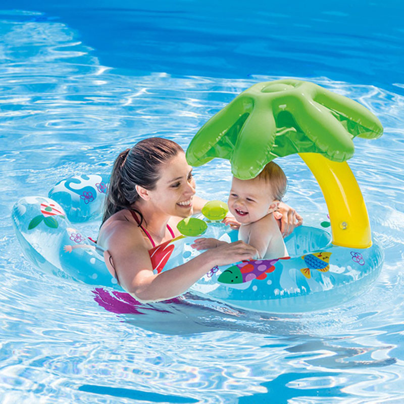 New Baby Pool Float Toys Neck Ring With Subshade Mother Baby Swim Circle Inflatable Safety Swimming Ring Float Seat Kids Gifts
