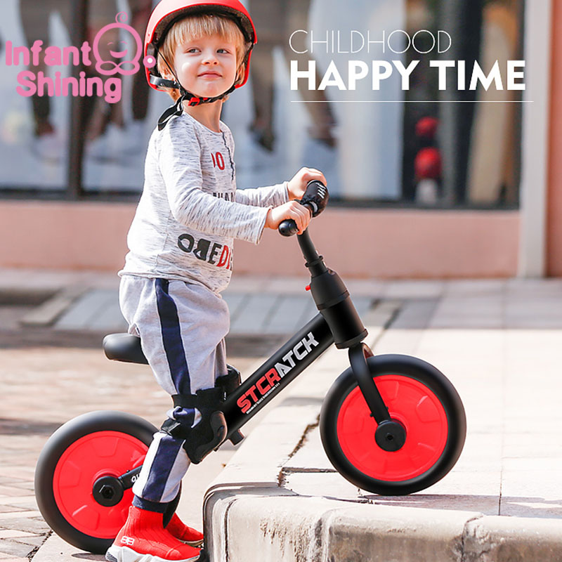 Infant Shining Baby Balance Bike Ride On Toys Walker 2/4 Wheels Bike Adjustment Lightweight Body Suit For 2-6Y Children Gift