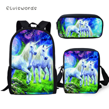 ELVISWORDS Childrens 3PCs Set Backpack Cartoon Horse Pattern School Bag Students Fantasy Unicorn Backpack/Flaps Bag/Pen Bags