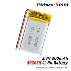 Supply lithium battery lithium polymer Rechargeable battery 502035 300 mah 3.7 V For MP3 MP4 MP5 GPS PSP MID Bluetooth Headset