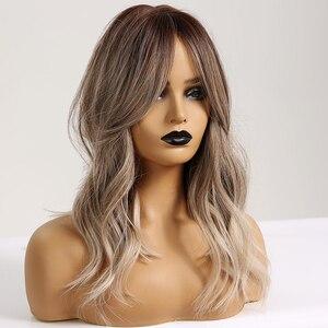 Image 2 - ALAN EATON Synthetic Hair Wig Ombre Brown Light Ash Blonde Medium Wave Wig for Black Women Heat Resistant Fiber Daily False Hair