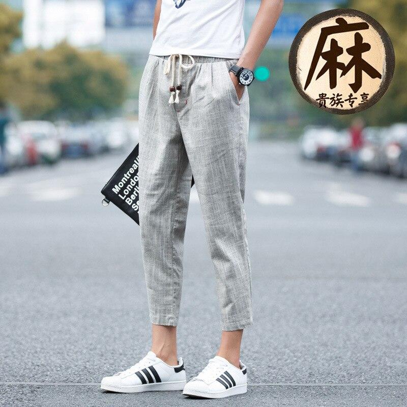 2018 New Style Men Summer Large Size Fashion Casual Flax Japanese-style Capri Pants Breathable Cotton Linen Men Pants