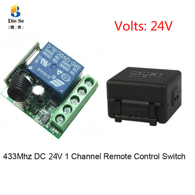 433 433mhzのユニバーサルrfリモコンdc 24v 1CHリレー受信機モジュールガレージ/ドア/ライト/led/送風機/モーター/信号伝送