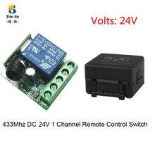 433mhz rf universal controle remoto dc 24v 1ch relé módulo receptor para garagem/porta/luz/led/fanner/motor/transmissão de sinal