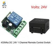 433Mhz universel RF télécommande DC 24V 1CH relais récepteur Module pour garage/porte/lumière/LED/Fanner/moteur/transmission de Signal