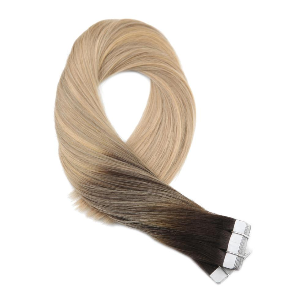 Moresoo Tape In Hair Extension Darkest Brown #2 With #16 Highlight With #24 Real Remy Brazilian Human Hair 2.5g/pcs  25g-100g