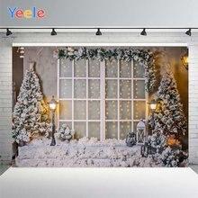 Yeele Рождественская фотография Фон Фотофон снежное окно и деревья