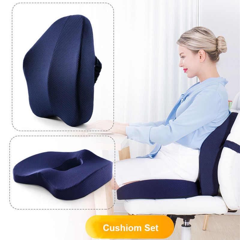 Memory Foam Seat Cushion Orthopedic Pillow Office Chair Cushion Lumbar Cushions Car Seat Butt Hemorrhoid Coccyx Vertebra Sets Cushion Aliexpress