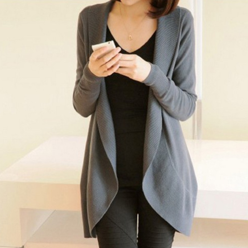 2021 Autumn Winter New Women Long Sleeve Knitted Sweater Casual Solid Scarf Collar Cardigans Sweaters
