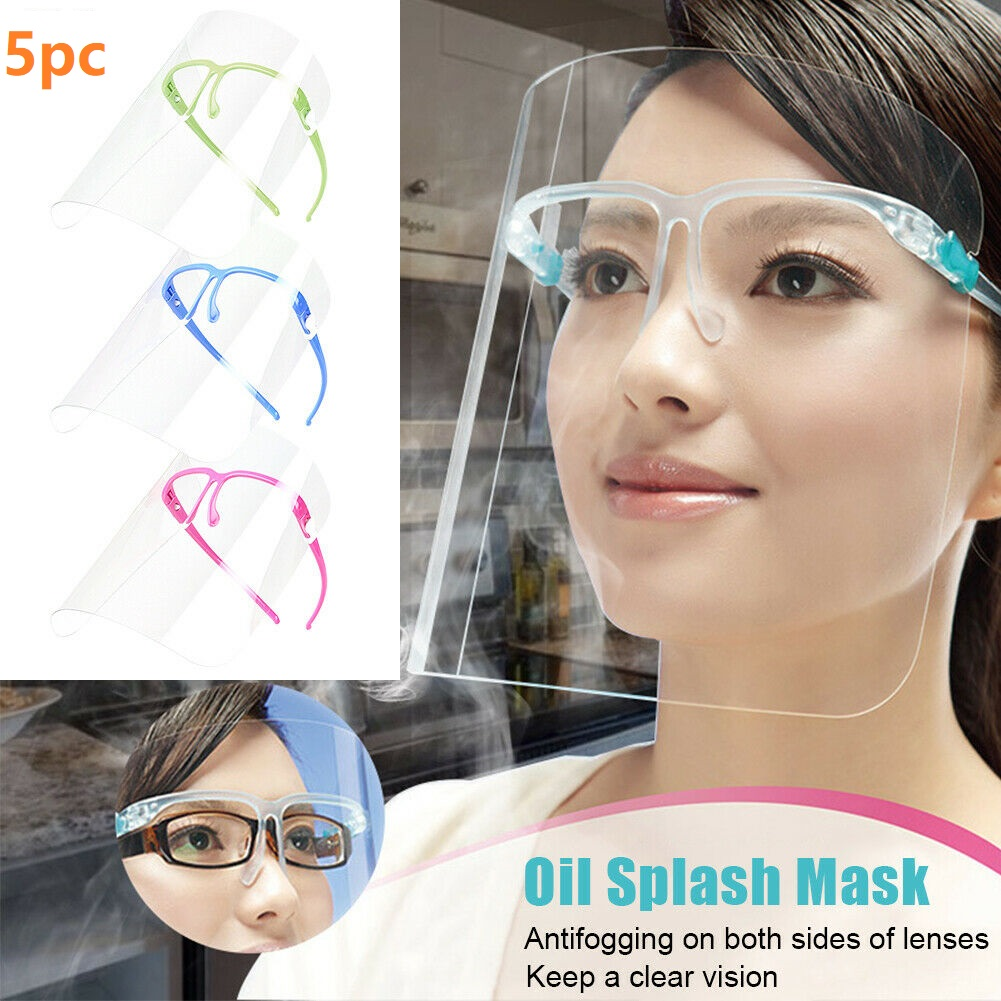 5Pieces Safety Transparent Clear Anti-Fog Anti-Saliva Face Shield Faceshield Eye Face Protection Cover Mask
