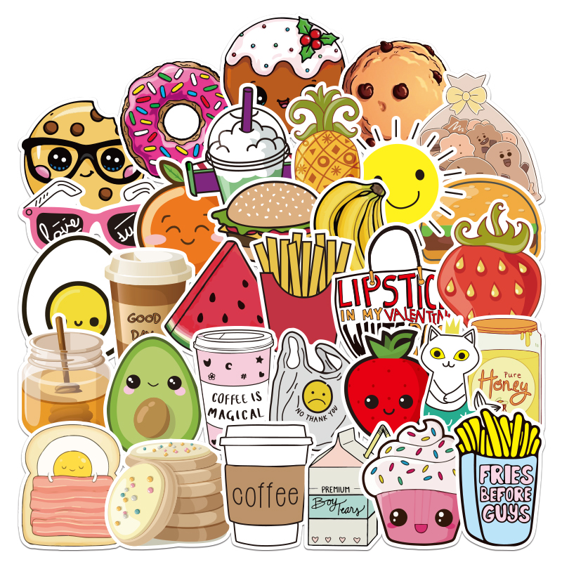 100pcs Series Cartoon Food Stickers For Chidren Toy Waterproof Sticker Stickers To DIY Suitcase Laptop Bicycle Pegatinas