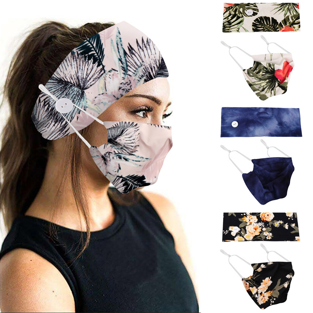 Button Wide Headband With Mouth Mask