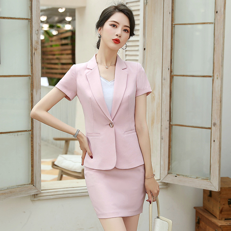 Professional Women's Suits Skirt Suit Two-piece 2020 Summer New Casual Slim Ladies Blazer Jacket Fashion Short Skirt Office