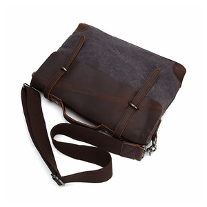 Image 4 - Мужской портфель, сумка из натуральной кожи и холста, Лоскутная мужская сумка мессенджер, винтажная брендовая мужская сумка на плечо для ноутбука, дорожная сумка