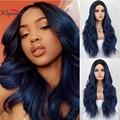 Kryssma Mixed Blau Synthetische Vordere Lange Wellenförmige Perücke Ombre Blau/Braun Perücken Dunklen Wurzeln 2 Töne Haar Hitze Beständig für Frauen