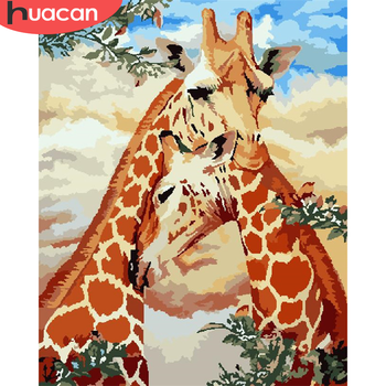 HUACAN Painting By Number Giraffe Drawing On Canvas HandPainted Painting Art Gift DIY Pictures By Number Animal Kits Home Decor