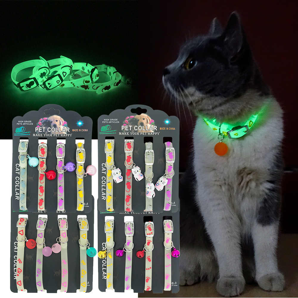 Cani E Gatti Collare con Ardore Campane Collare Del Gatto Dell'animale Domestico Della Collana Catena di Luce Accessori per Animali Domestici Collare di Cane Luminoso Anello Del Collo 4 pz/set 1 Pcs