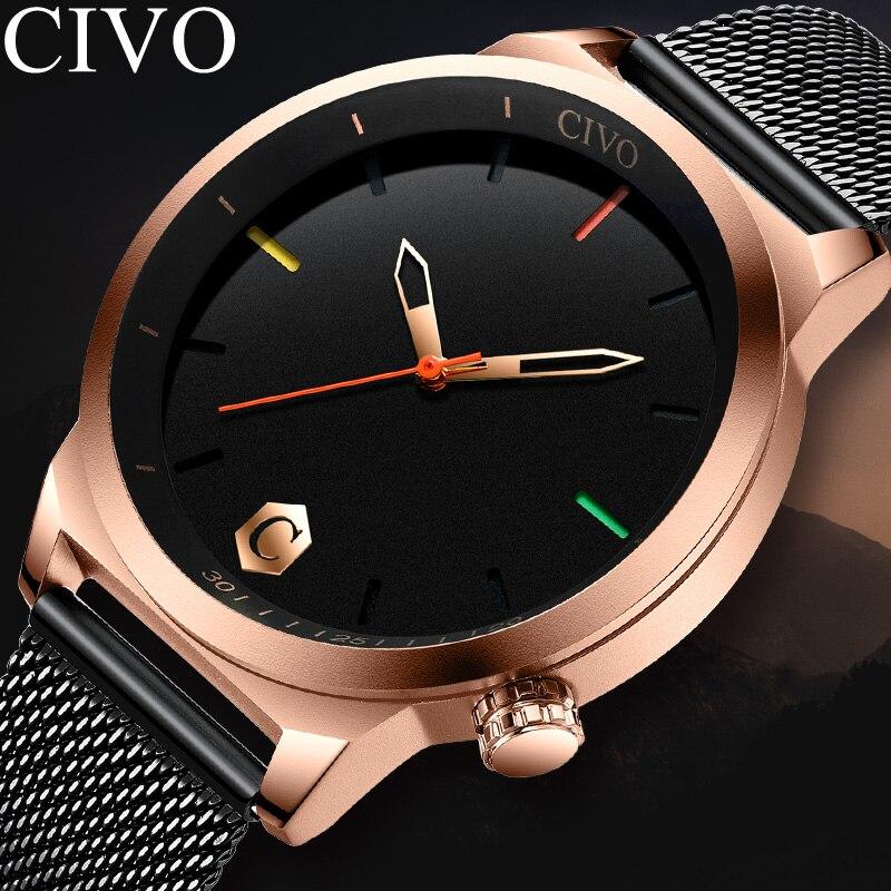CIVO Mens Watches Top Brand Luxury Quartz Watch Ultra Thin Mesh Band Waterproof Case Men Gifts Clock Horloges Mannen 8110