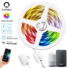 Lumary – bande lumineuse intelligente à LED RGBWW, wi-fi, corde d'éclairage à couleur changeante, fonctionne avec le contrôleur Alexa Google APP, étanche, pour fête