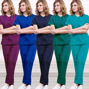 Medical Uniforms Women Zipper Opening Scrub Top Cotton Short Sleeve Doctor Nurse SPA Uniforms Elastic Waistline Drawstring Pants