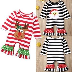 0-18 miesięcy nowonarodzone chłopcy, dziewczynki, śpioszki, święty mikołaj wzór w renifery z długim rękawem body strój bożonarodzeniowy kombinezon