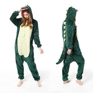 Зеленые пижамы унисекс с динозавром для взрослых, цельные пижамы для косплея, комбинезоны для девочек и мальчиков, одежда для сна с животным...