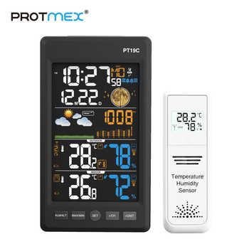 PROTMEX PT19C Weather Station Temperature Humidity Wireless Colorful LCD Display With Barometer Weather Forecast - DISCOUNT ITEM  29% OFF All Category