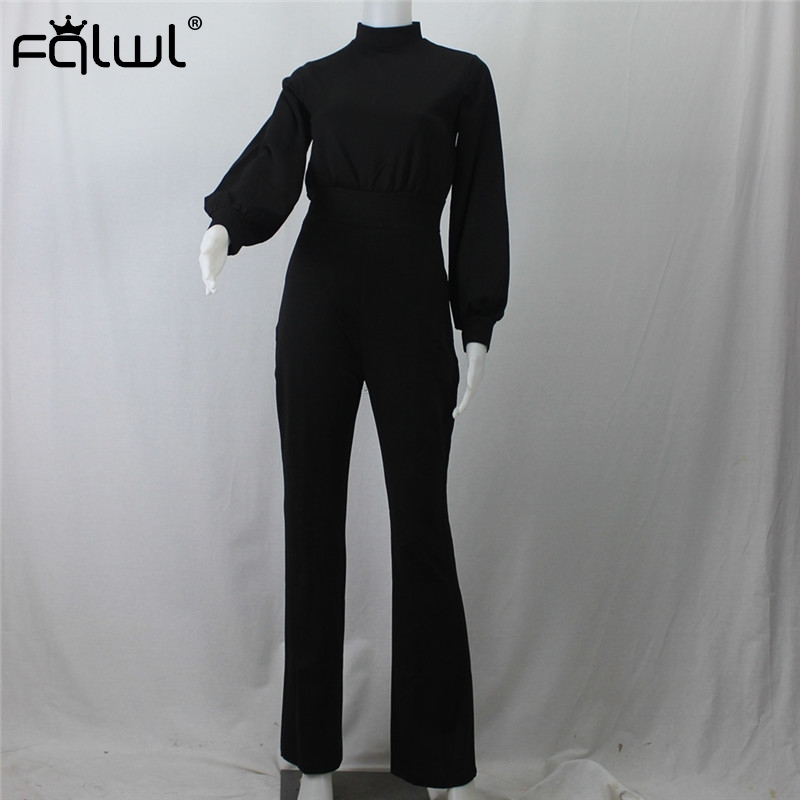 Sebaby Womens Bell Sleeve Wide Legs Slim Fitted Belted Design Jumpsuit Romper