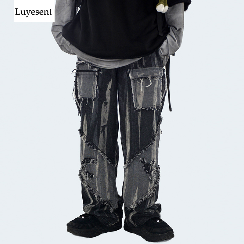Black Cool Punk Unisex Washed Jeans 2020 Woman Man Vintage Tassel Bleached Broken Ankle-Length Gothic Button Zip Long Trousers