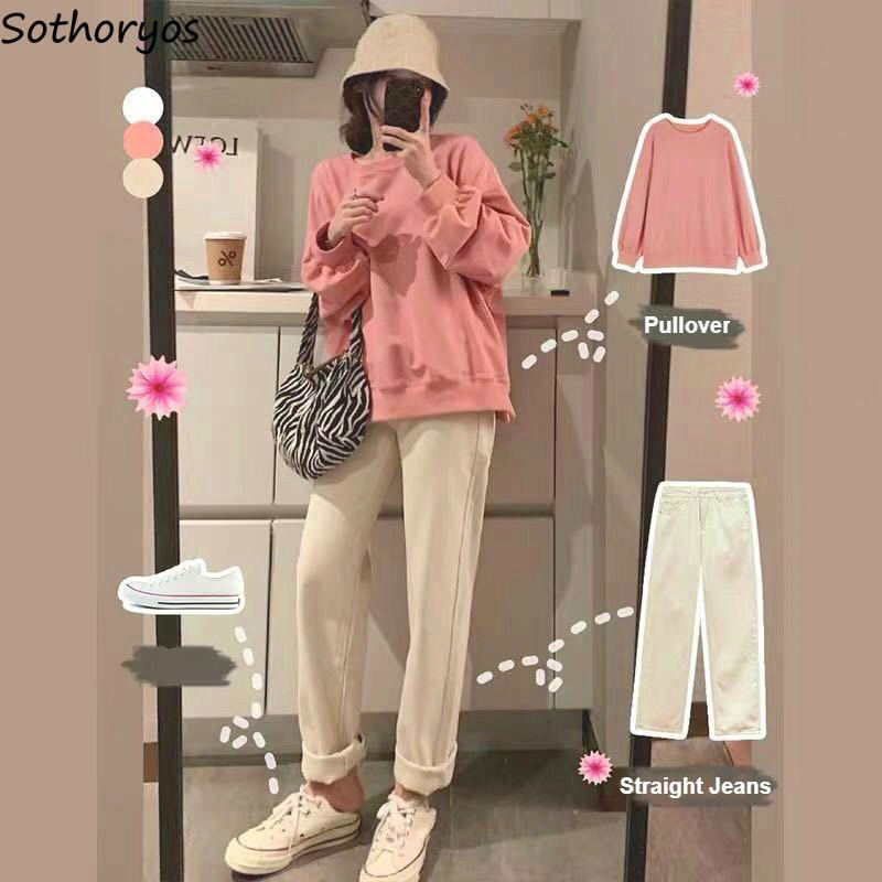 Женские повседневные комплекты из 2 предметов, модные милые простые толстовки, прямые свободные джинсы, Студенческая универсальная Корейская Повседневная Уличная одежда Спортивные костюмы    АлиЭкспресс