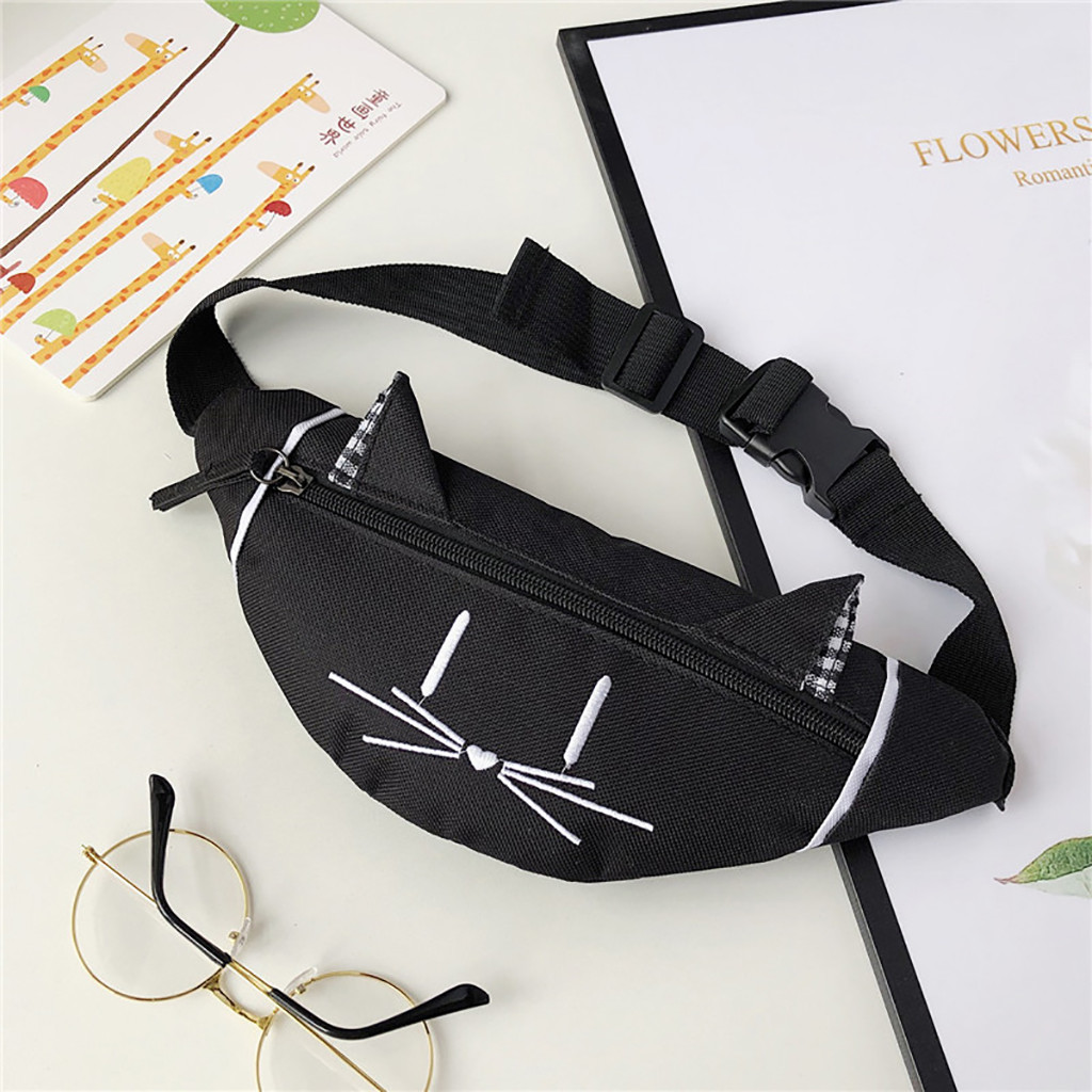 Women Kids Mini Waist Bag Fanny Pack Cute Cat Ear Printed Fashion Chest Canvas Pocket Money Belt Women Waist Bag Sac 2019