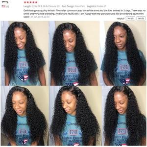 Image 5 - Moğol Kinky Kıvırcık Saç Demetleri Ile Frontal 13*4 Ön Frontal Remy % 100% İnsan Saç 3 Demetleri Ile dantel Kapatma Shireen