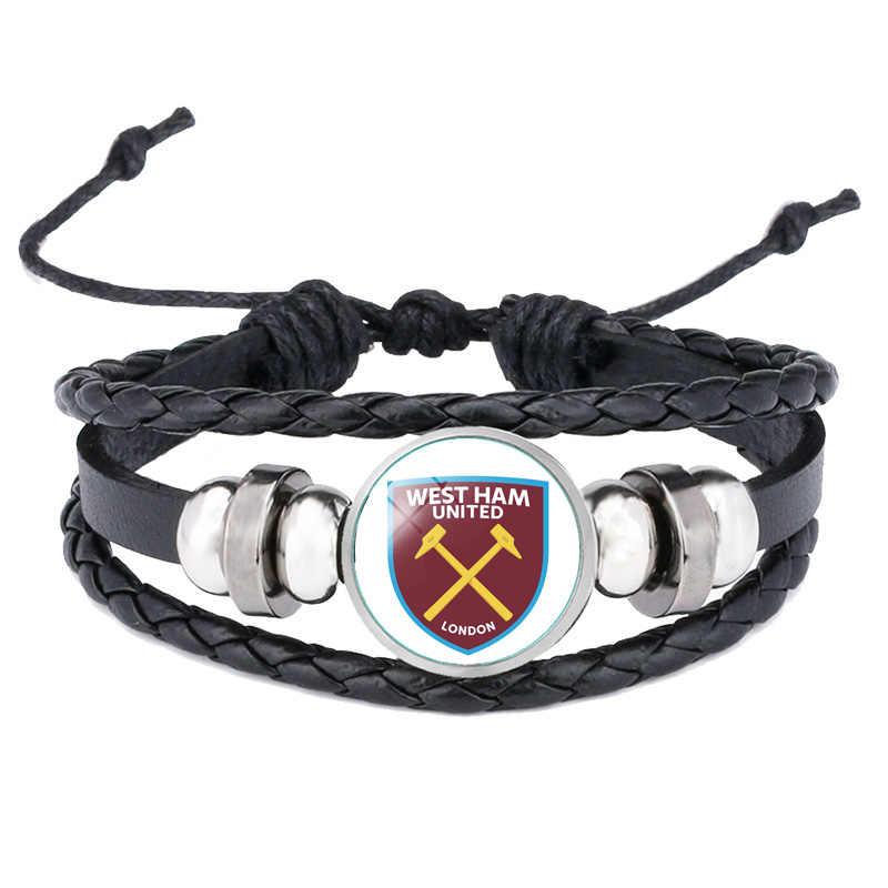 Dropshipping Panas Kulit Gelang Klub Sepak Bola LOGO Gelang Kaca Perhiasan Tim Logo Gelang untuk Penggemar Sepak Bola Hadiah