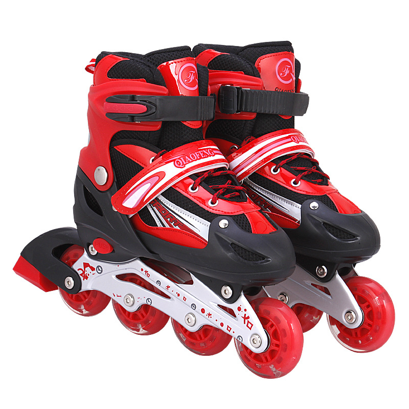 19-20 High Quality Kid's And Adult Roller Skates Athletic Shoe For Children Men And Women PU Material Skating All Wheels Flash