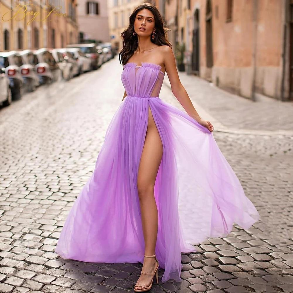 Vestido de graduación violeta ligero, largo, tul, sencillo, Sexy, abertura  larga Vestidos de graduación  - AliExpress