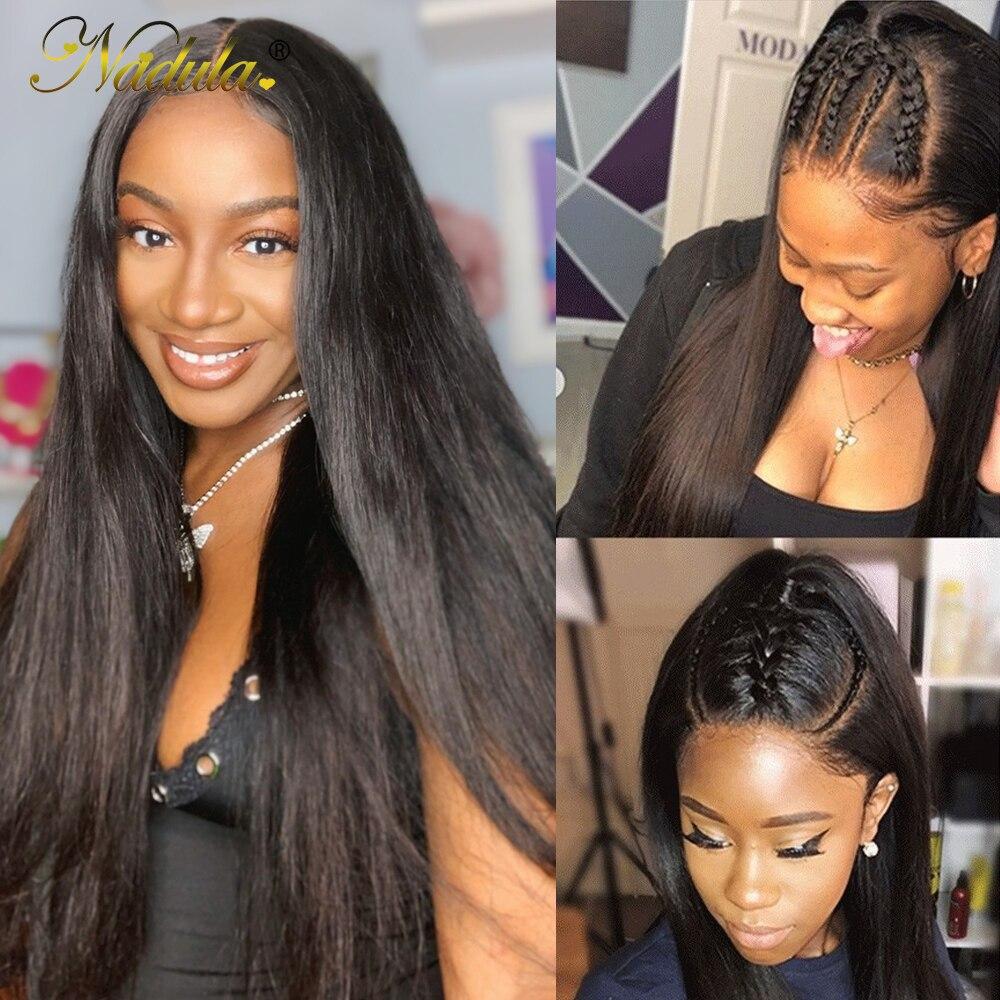 Парики из человеческих волос Nadula Remy 12-24 дюйма, парик из прямых волос, малазийские парики на сетке для женщин, предварительно выщипанные Детс...