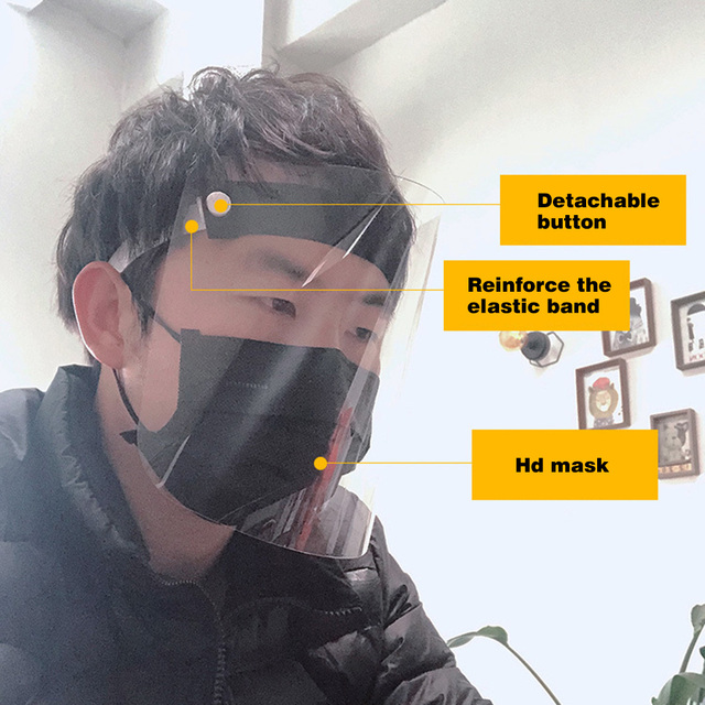 Universal Head Mounted Clear Face Protection Shield Saliva Splashing Proof Transparent Face Screen 2