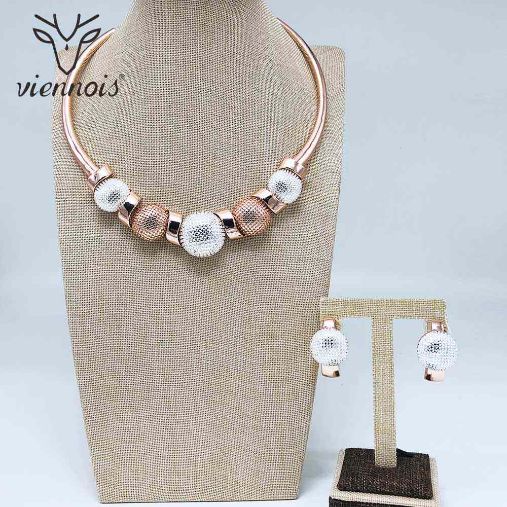 Viennois Fashion Rose Gold Color & Gold Color Clip Earrings Mix Color Necklace Jewelry Set For Women Metal Party Jewelry Set